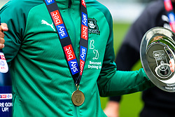 (Free to use courtesy of Sky Bet) Captain Gary Sawyer as Plymouth Argyle celebrate promotion to League One after the curtailment of the regular season due to the Covid-19 pandemic - Rogan/JMP - 01/07/2020 - Home Park - Plymouth, England - Sky Bet League 2.