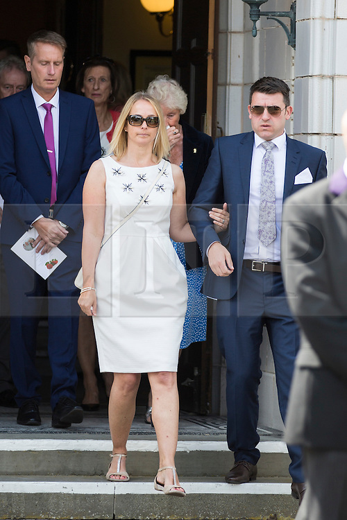 © Licensed to London News Pictures. 15/07/2015. Lytham St Annes, UK. Pictures shows Lindsey Clifford daughter of Denis & Elaine Thwaites. The funeral of former Birmingham city footballer Denis Thwaites 70 & his wife Elaine 69 who where killed in the Tunisia terror attack has taken place at The White Church in Lytham St Annes. Photo credit : Andrew McCaren/LNP