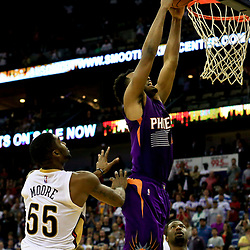 Nov 4, 2016; New Orleans, LA, USA; Phoenix Suns forward TJ Warren (12) dunks during overtime of a game against the New Orleans Pelicans at the Smoothie King Center. The Suns defeated the Pelicans 112-111 in overtime. Mandatory Credit: Derick E. Hingle-USA TODAY Sports