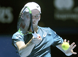 PERTH, Jan. 5, 2018  David Goffin of Belgium hits a return during the match between Canada and Belgium at Hopman Cup mixed teams tennis tournament in Perth, Australia, Jan. 5, 2018. Belgium won the match by 3-0. (Credit Image: © Zhou Dan/Xinhua via ZUMA Wire)