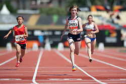 CHEN Junfei, HAHN Sophie, VEJRAZKOVA Anezka, CHN, GBR, CZE, 100m, T38, 2013 IPC Athletics World Championships, Lyon, France