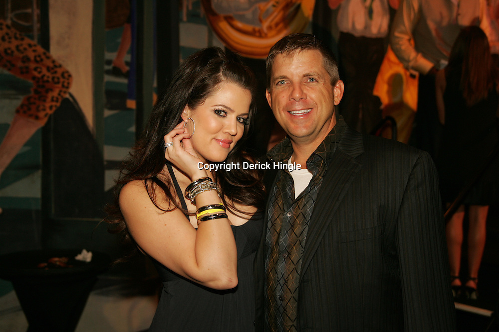 Khloe Kardashian poses with New Orleans Saints head coach Sean Payton at the Big Easy Billiard' Bash a celebrity pool tournament and party hosted by NFL Superstar Reggie Bush and NBA Superstar (SHAQ) Shaquille O'Neal at the Hilton Riverside Hotel in New Orleans, Louisiana on February 15th 2008.