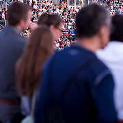 August 30, 2017 - New York, NY : Fans crowd the Grandsdant to watch Alexander Zverev face off against Borna Coric (neither  are visible) in the Grandstand on the third day of the U.S. Open, at the USTA Billie Jean King National Tennis Center in Queens, New York, on Wednesday. <br /> CREDIT : Karsten Moran for The New York Times