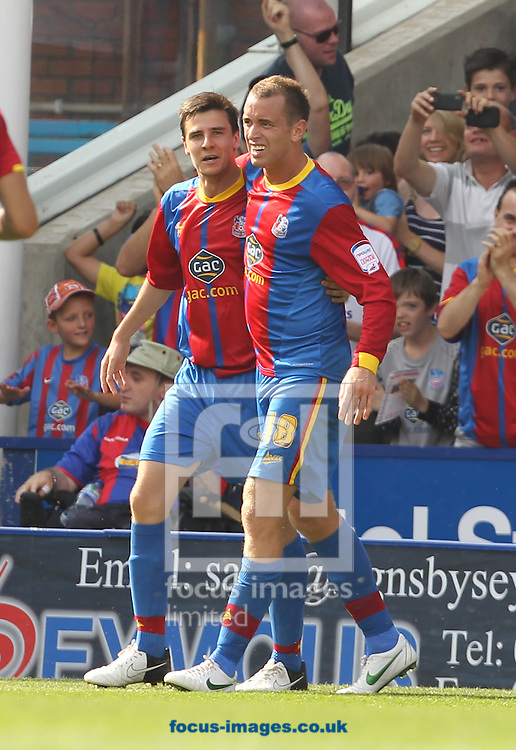 Picture by Daniel Weir/Focus Images Ltd +44 7982 911743.18/08/2012.Owen Garvan of Crystal Palace Celebrates scoring his 2nd goal for Crystal Palace Fc against Watford along with Aaron Wilbraham & Jonathon Parr during the npower Championship match at Selhurst Park, London.