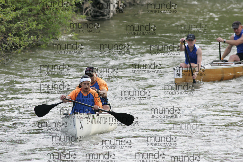 (Cooperstown to Bainsbridge, NY---26 May 2008) The 2008 General Clinton Regatta for Canoes held on 70 miles of the Susquehana River between Cooperstown and Bainsbridge, New York. The boat pictured is D4 FRANK HARPER, TAMMY MONIAS  MANITOBA