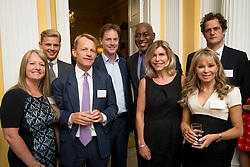 © Licensed to London News Pictures. 03/09/14. Admiralty House, Whitehall, London. Deputy Prime Minister Nick Clegg hosts a reception to celebrate his launch of the free school meals campaign. L-r Guests Carrieanne Bishop, Jeff Brazier, MP David Laws, DPM Nick Clegg, Ainsley Harriott, Amanda Ursll, Annabel Karmel and Valentine Warner. Photo credit : David Tett/LNP