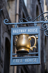 Pub sign on  historic Fleshmarket Close in Old Town of Edinburgh, Scotland, United Kingdom