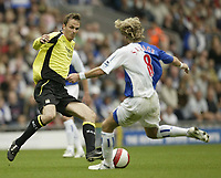 Photo: Aidan Ellis.<br /> Blackburn Rovers v Manchester City. The Barclays Premiership. 17/09/2006.<br /> City's Dietmar Hamann challenges Rovers Robbie Savage