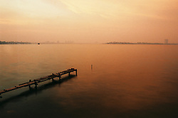 Sunset over Hanoi's West Lake, Tay Ho District, Hanoi, Vietnam, Southeast Asia