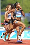 English Gardner (USA) wins the women's 100m in 11.02 during IAAF Birmingham Diamond League meeting at Alexander Stadium on Sunday, June 5, 2016, in Birmingham, United Kingdom. Photo by Jiro Mochizuki