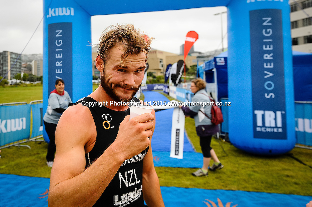 Jai Davies-Campbell, winner of the Sovereign Tri Series, Waterfront, Wellington, New Zealand. Saturday 14 March 2015. Copyright Photo: Mark Tantrum/www.Photosport.co.nz