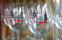 © Licensed to London News Pictures. 04/10/2015. London, UK. Wine glasses from Jack the Ripper Museum are displayed for sale.  A planned protest was cancelled at the museum today. Photo credit: Peter Macdiarmid/LNP