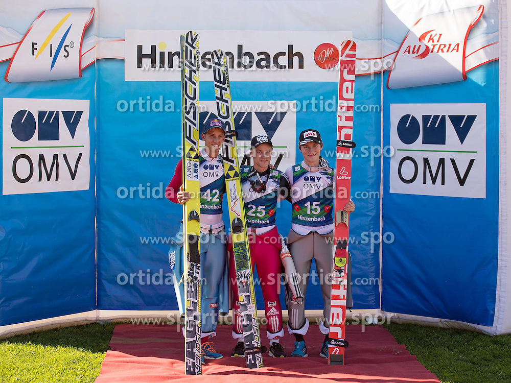 28.09.2014, Energie AG Skisprung Arena, Hinzenbach, AUT, FIS Ski Sprung, Sommer Grand Prix, Hinzenbach, im Bild v.l. Gregor Schlierenzauer (AUT) second place, Roman Kudelka (CZE) the winner and Marinus Kraus (GER) third place, during FIS Ski Jumping Summer Grand Prix at the Energie AG Skisprung Arena, Hinzenbach, Austria on 2014/09/28. EXPA Pictures © 2014, PhotoCredit: EXPA/ Reinhard Eisenbauer