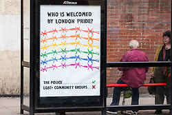 London, UK. 6 July, 2019. Protest subverts highlighting Pride's origins as a protest and some of the contradictions and compromises involved in today's Pride have been placed along the route and at locations around London by Lesbians and Gays Support The Migrants and The Outside Project, the UK's first LGBTIQ+ crisis/homeless shelter and community centre.