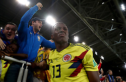 Colombia's Yerry Mina gets emotional as he celebrates scoring his side's first goal of the game during the FIFA World Cup 2018, round of 16 match at the Spartak Stadium, Moscow.