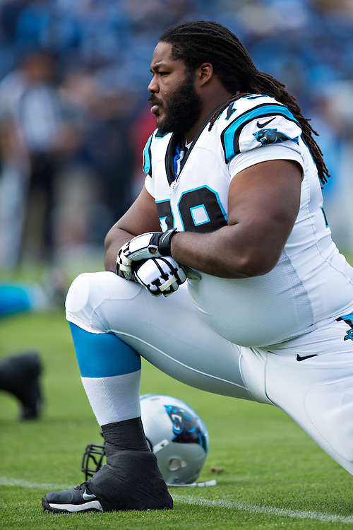 NASHVILLE, TN - NOVEMBER 15:  Chris Scott #79 of the Carolina Panthers warming up before a game against the Tennessee Titans at Nissan Stadium on November 15, 2015 in Nashville, Tennessee.  (Photo by Wesley Hitt/Getty Images) *** Local Caption *** Chris Scott