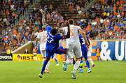 Fatai Alashe (27) of FC Cincinnati and Leandro Gonzalez Pirez (5) get tangled together during a MLS soccer game, Wednesday, September 18, 2019, in Cincinnati, OH. Atlanta defeated Cincinnati 2-0. (Jason Whitman/Image of Sport)