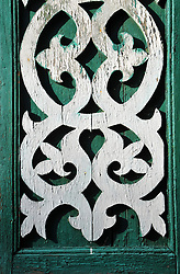 """Beautiful traditional wood scrolls decorate a home in Uglich, Russia. As one of Russia's """"Golden Ring"""" cities, Uglich is designated a town of significant cultural importance."""