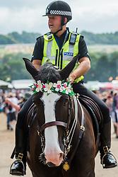 The police get into festival spirit. The 2015 Glastonbury Festival, Worthy Farm, Glastonbury.