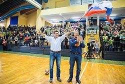 Borut Pahor, president of Slovenia and Matej Erjavec, president of KZS celebrate after women team won and qualified during basketball match between Women National Teams of Slovenia and Lithuania in Qualifications of EuroBasket Women 2017, on November 19, 2016 in Gimnazija Celje, Slovenia. Photo by Vid Ponikvar / Sportida