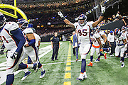NEW ORLEANS, LA - NOVEMBER 13:  Virgil Green #85 of the Denver Broncos runs onto the field before a game against the New Orleans Saints at Mercedes-Benz Superdome on November 13, 2016 in New Orleans, Louisiana.  The Broncos defeated the Saints 25-23.  (Photo by Wesley Hitt/Getty Images) *** Local Caption *** Virgil Green