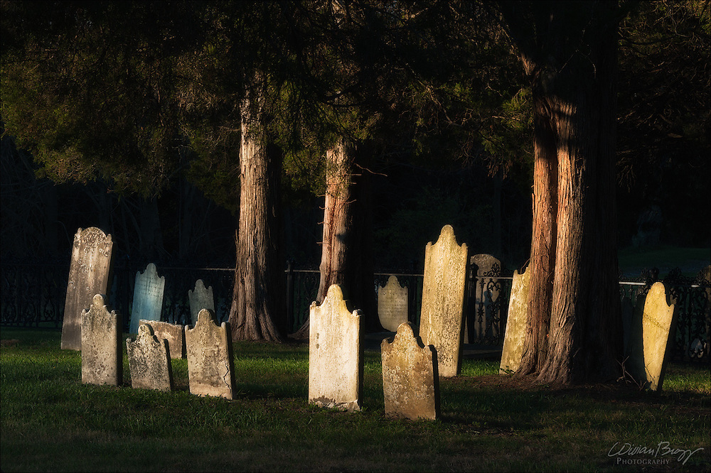 In Silent Reverence, a vista within a colonial cemetery at sunrise.