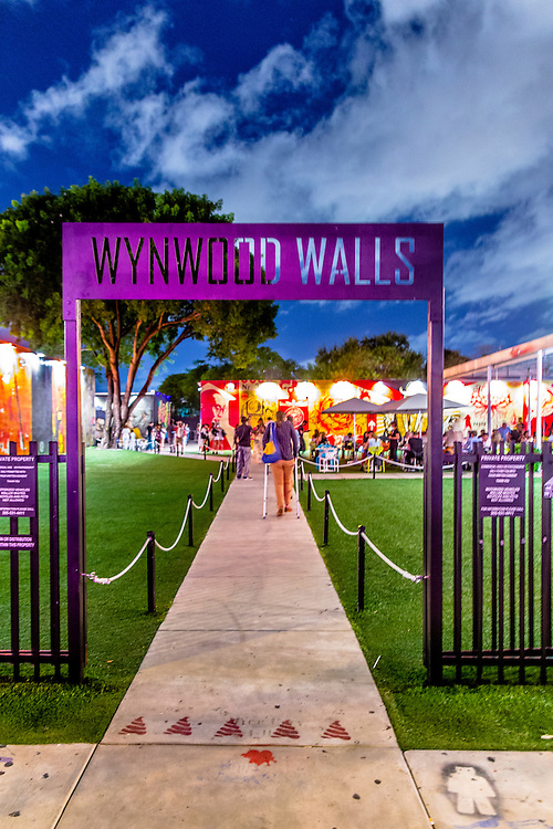 Entrance to Miami's celebrated Wynwood Walls outdoor street art space created by a visionary real estate re-developer, the late Tony Goldman.