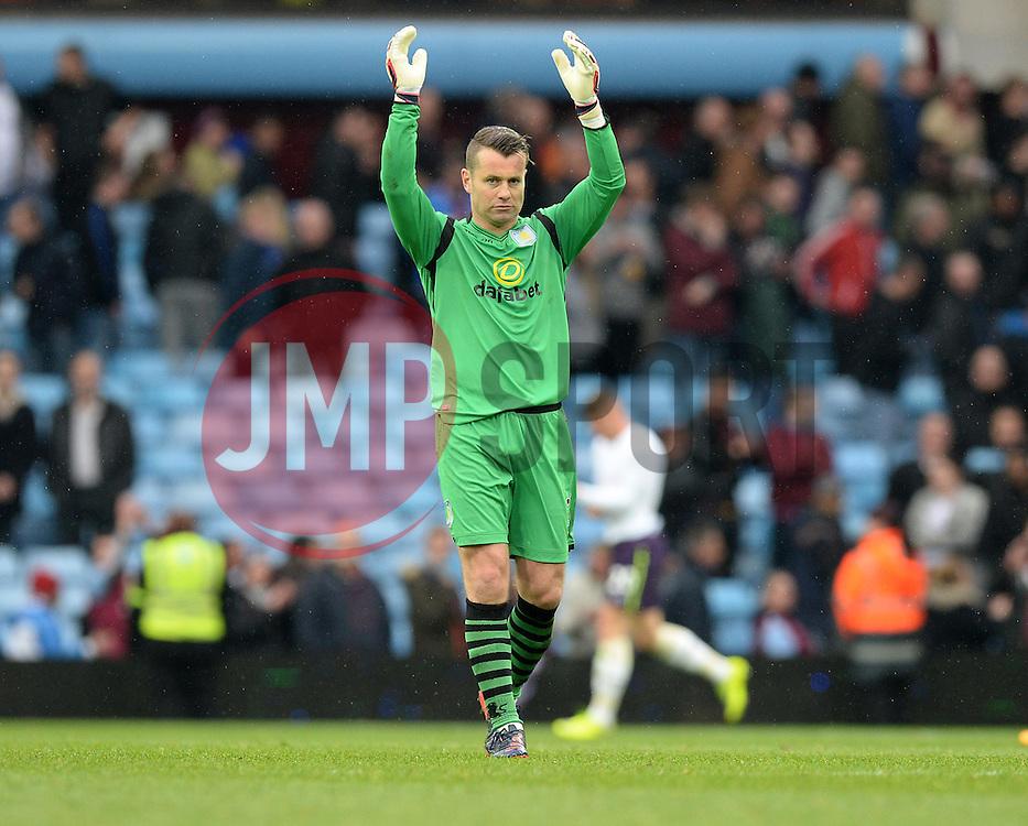 Aston Villa's Shay Given clap the home support.  - Photo mandatory by-line: Alex James/JMP - Mobile: 07966 386802 - 02/05/2015 - SPORT - Football - Birmingham - Villa Park - Aston Villa v Everton - Barclays Premier League