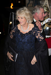 LONDON - UK - 02- Feb-2016: HRH The Prince of Wales, President, The British Asian Trust, accompanied by HRH The Duchess of Cornwall, attend a Reception and Dinner for supporters of the charity at The Natural History Museum, London <br /> <br /> Photograph by Ian Jones