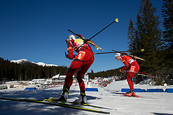 BERGER Tora of Norway and HORN Fanny Welle-Strand of Norway compete during Women 12.5 km Mass Start competition of the e.on IBU Biathlon World Cup on Sunday, March 9, 2014 in Pokljuka, Slovenia. Photo by Vid Ponikvar / Sportida