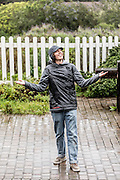 Thomas de Jong isn't deterred by the outlook of rain on the long hike at Ano Nuevo.