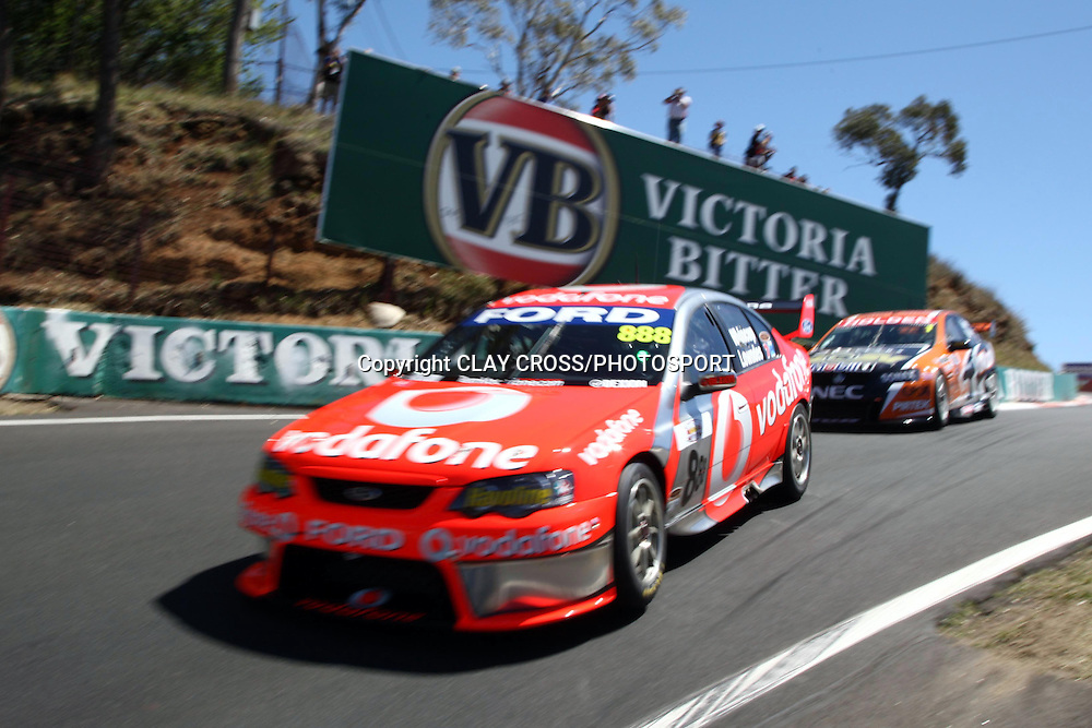 Craig Lowndes and Jamie Whincup driving the TeamVodafone Falcon during qualifying for the Supercheap Auto Bathurst 1000 held at Mount Panorama, Bathurst Australia ~ Round 10 of the 2007 V8 Supercar Series on Friday 5th October 2007.<br />