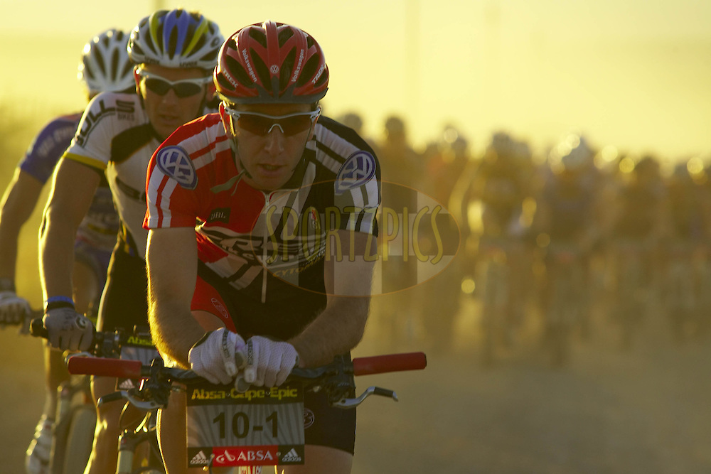 WESTERN CAPE, SOUTH AFRICA -  31 March 2008, Jeremiah Bishop of Trek/VW leads the pack during stage three of the 2008 Absa Cape Epic Mountain Bike stage race from Calitzdorp Spa..to Langenhoven High School in Riversdale, Western Cape, South Africa...Photo by Gary Perkin/SPORTZPICS