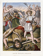 David, having killed the Philistine giant, Goliath, with stone from his sling, makes sure that Goliath is really dead. 'Bible' 1 Samuel 17:I.  Goliath 6 cubits (approx 3m tall) Chromolithograph c1860