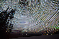 Star trails and northern lights just outside of Fairbanks, Alaska. March 21, 2012. 100-minute timelapse, stacked. Canon 5D Mark II, EF 14mm/2.8L II USM lens.