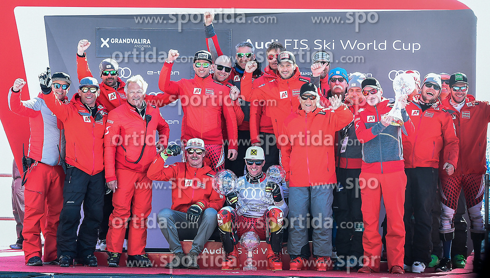 17.03.2019, Soldeu, AND, FIS Weltcup Ski Alpin, Siegerehrung, Nationenwertung, im Bild Mannschaftsfoto Team Herren Österreich mit Gesamtweltcup Sieger Marcel Hirscher, Nationencup Sieger Prof. Peter Schröcksnadel (ÖSV Präsident), Andreas Puelacher (Sportlicher Leiter ÖSV Ski Alpin Herren), Hans Pum (ÖSV Sportdirektor) // Team photo Austria men with Overall World Cup winner Marcel Hirscher with his crystal globes Nations Cup winner Peter Schroecksnadel Austrian Ski Association President Andreas Puelacher Austrian Ski Association head Coach alpine Men's Hans Pum Austrian Ski Association sporting director Manuel Feller during the Nations Cup winner Ceremony for the Worlcup of FIS Ski Alpine World Cup finals. Soldeu, Andorra on 2019/03/17. EXPA Pictures © 2019, PhotoCredit: EXPA/ Erich Spiess
