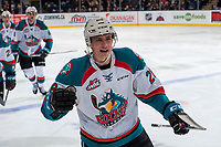 KELOWNA, CANADA - FEBRUARY 23: Leif Mattson #28 of the Kelowna Rockets skates to the bench to celebrate a goal against the Seattle Thunderbirds  on February 23, 2018 at Prospera Place in Kelowna, British Columbia, Canada.  (Photo by Marissa Baecker/Shoot the Breeze)  *** Local Caption ***