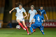 Jill Scott (England) (Manchester City) cuts inside Daniela Stracchi (Italy) (Mozzanica) during the Women's International Friendly match between England Ladies and Italy Women at Vale Park, Burslem, England on 7 April 2017. Photo by Mark P Doherty.