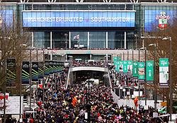 Fans walk down Wembley Way  - Mandatory by-line: Matt McNulty/JMP - 26/02/2017 - FOOTBALL - Wembley Stadium - London, England - Manchester United v Southampton - EFL Cup Final