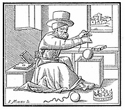 Archimedes (c287-212 BC) Ancient Greek mathematician and inventor. Archimedes measuring the purity of gold in the crown of Hieron II of Syracuse. Woodcut based  on a 1511 edition of Vitruvius