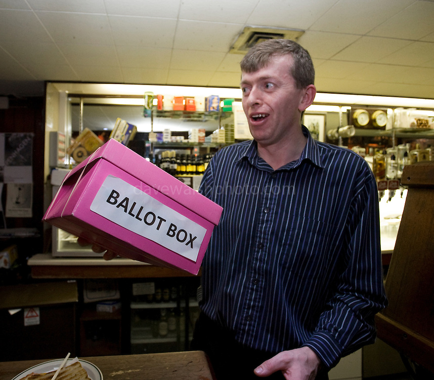 Barman Donal with Ballot Box for Pope of Festival of Fools Election, Festival of Fools, April 1st 2009, marking April Fool's Day, and the 43rd anniversary of the death of Irish author Flann O'Brien