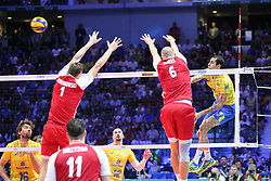 September 30, 2018 - Turin, Piedmont, Italy - Piotr Nowakowski (L) and Bartosz Kurek (R) of Poland during the final match between Brazil and Poland for the FIVB Men's World Championship 2018 at Pala Alpitour in Turin, Italy, on 30 September 2018. Poland won 3: 0 and it is confirmed world champion. (Credit Image: © Massimiliano Ferraro/NurPhoto/ZUMA Press)