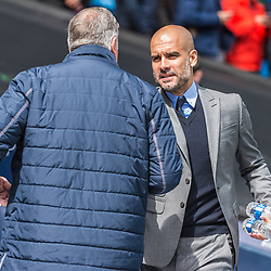Crystal Palace manager Sam Allardyce and Manchester City manager Pep Guardiola in the English Premier League match between Manchester City and Crystal Palace<br /> (c) John Baguley | SportPix.org.uk