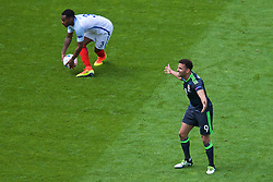 LENS, FRANCE - Thursday, June 16, 2016: Wales' Hal Robson-Kanu appeals against England's Danny Rose during the UEFA Euro 2016 Championship Group B match at the Stade Bollaert-Delelis. (Pic by Paul Greenwood/Propaganda)