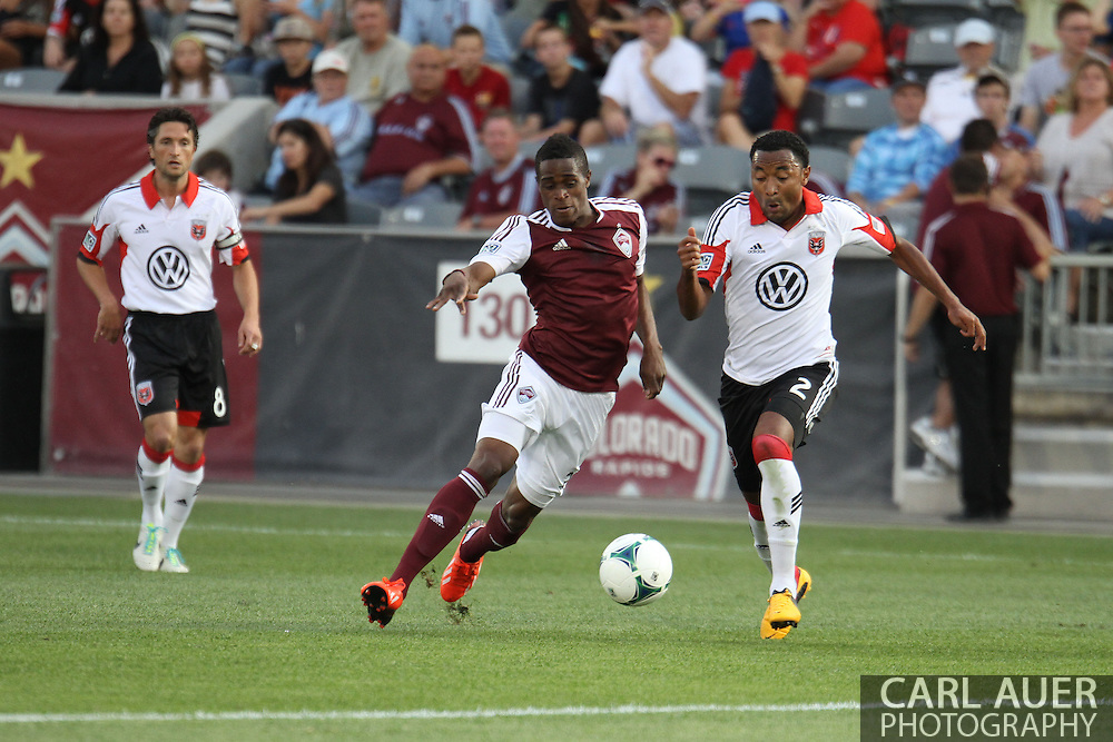 July 7th, 2013 - Colorado Rapids forward Deshorn Brown (26) and D.C. United defender James Riley (2) chase after the ball in the first half of the Major League Soccer match between D.C. United and the Colorado Rapids at Dick's Sporting Goods Park in Commerce City, CO