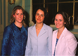 Left to right, MISS LAURA ACLOQUE granddaughter of Lord Howard de Walden, COUNTESS LIUBOV TOLSTOY-MILOSLAVSKY and MISS GEORGINA MANSFIELD, at a fashion show on 7th April 1998.MGO 42