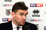 Grimsby Town Manager Michael Jolley post match press  during the EFL Sky Bet League 2 match between Grimsby Town FC and Port Vale at Blundell Park, Grimsby, United Kingdom on 10 March 2018. Picture by Mick Atkins.