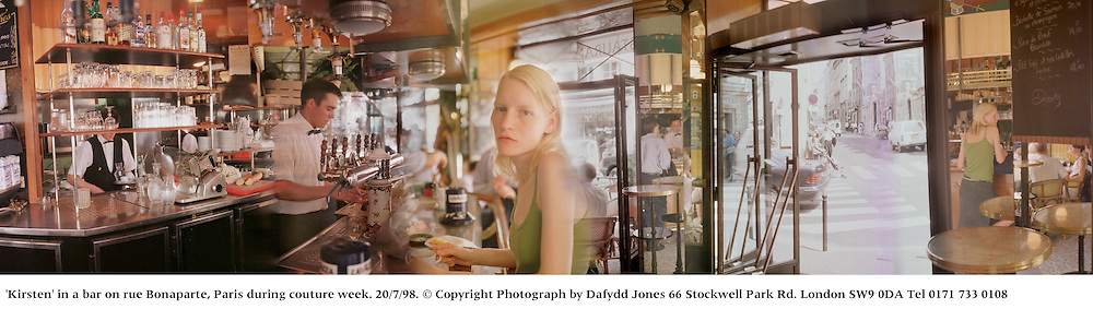 'Kirsten' in a bar on rue Bonaparte, Paris during couture week. 20/7/98. © Copyright Photograph by Dafydd Jones 66 Stockwell Park Rd. London SW9 0DA Tel 0171 733 0108
