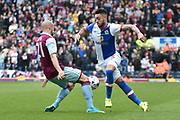 Blackburn Rovers Defender, Derrick Williams (5) adn Aston Villa Defender, Alan Hutton (21)  during the EFL Sky Bet Championship match between Blackburn Rovers and Aston Villa at Ewood Park, Blackburn, England on 29 April 2017. Photo by Mark Pollitt.