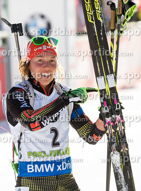 Laura Dahlmeier (GER) at finish line during Women 10 km Pursuit at day 3 of IBU Biathlon World Cup 2015/16 Pokljuka, on December 19, 2015 in Rudno polje, Pokljuka, Slovenia. Photo by Vid Ponikvar / Sportida